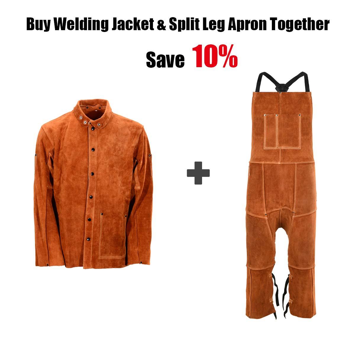 Leather Welding Apron Split Leg for Men One Size Fit Most Heavy Duty Cowhide Leather Flame Spark Heat Resistant Bib Apron by QeeLink