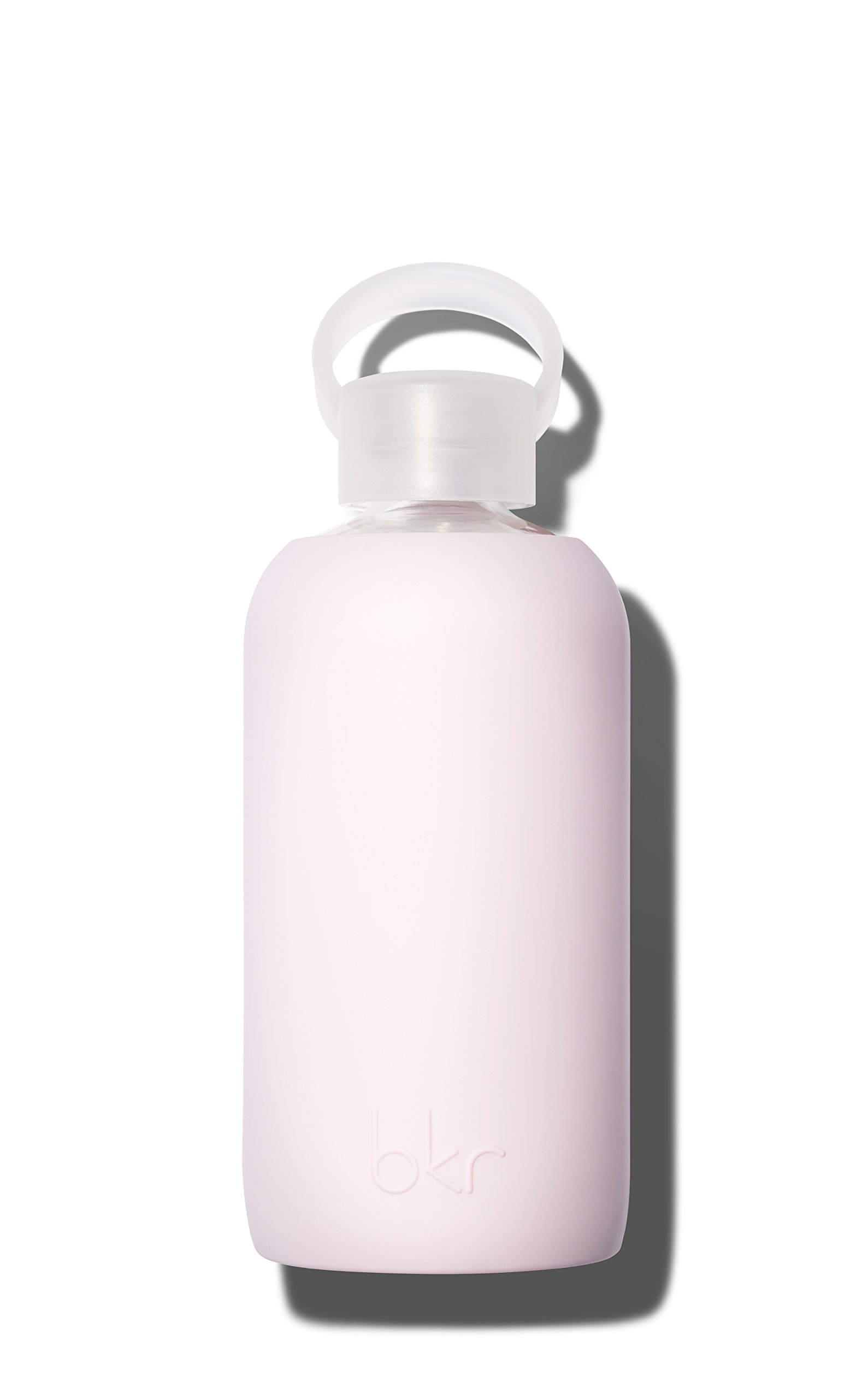 bkr Air Kiss Glass Water Bottle with Smooth Silicone Sleeve for Travel, Narrow Mouth, BPA-Free & Dishwasher Safe, Opaque Socialite Sweetheart Pink, 16 Ounce