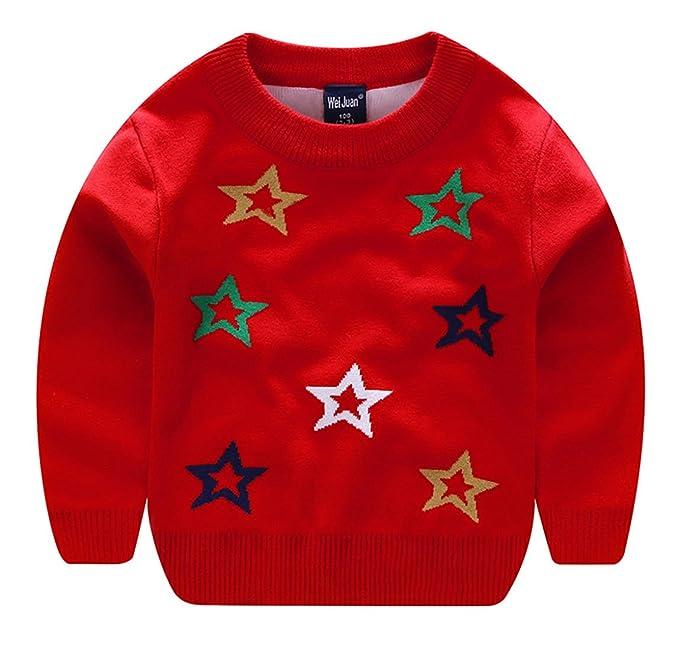 Wei Juan - Suéter Cuello Redondo Ropa de Invierno Otoño para Niños Jerséis Sweater Kid Winter