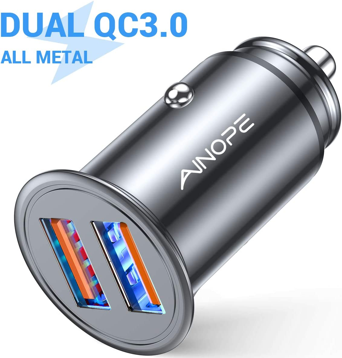 AINOPE USB Car Charger, [Dual QC3.0 Port] 36W/6A [All Metal] Fast Car Charger Mini Cigarette Lighter USB Charger Quick Charge Compatible with iPhone 11/11 pro/XR/X/XS, Note 9/Galaxy S10/S9/S8-SILVER