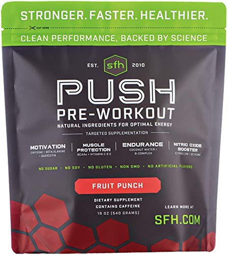 Push Pre-Workout Powder Fruit Punch by SFH Best Tasting 5g BCAA s for Muscle Repair Non-Dairy, No Artificial Flavors, Colors, or Sweeteners Bag