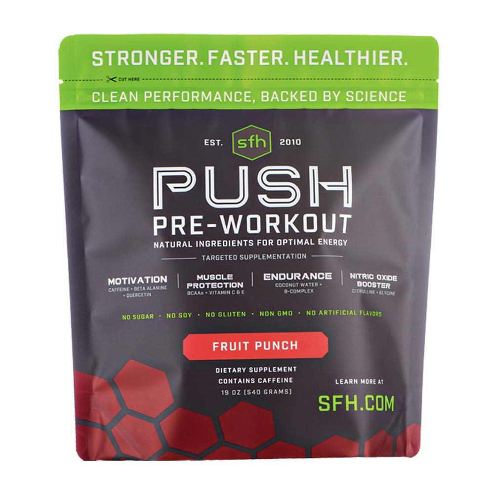 Push Pre-Workout Powder (Fruit Punch) by SFH | Best Tasting 5g BCAA's for Muscle Repair | Non-Dairy, No Artificial Flavors, Colors, or Sweeteners (Bag)