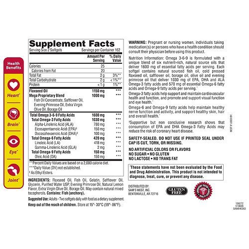 Cheap Member's Mark Omega 3, 6, 9 Dietary Supplement 1600 Mg, Soft Gels, 325-Count