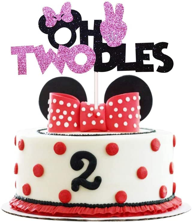 Amazing Amazon Com Oh Twodles Pink Birthday Cake Topper Two Second 2Th Funny Birthday Cards Online Necthendildamsfinfo