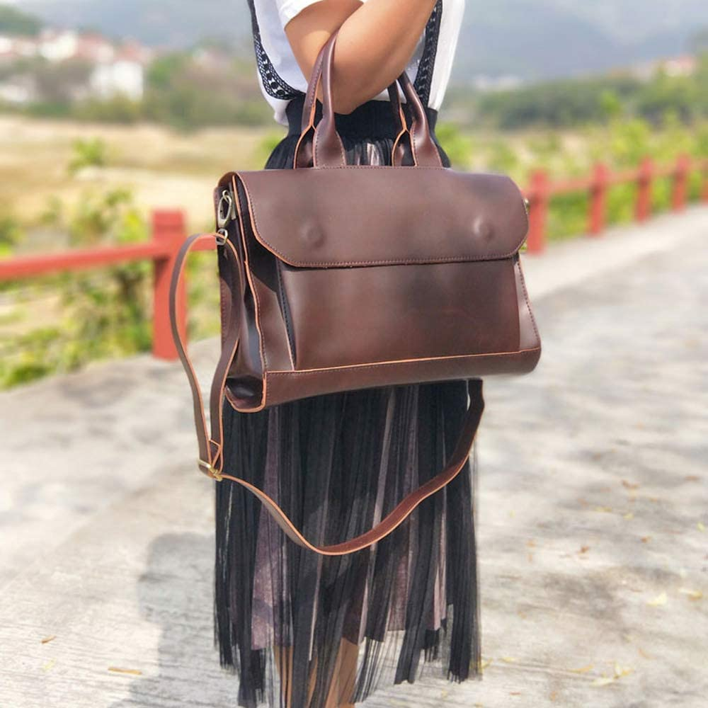 Womens Vintage Shoulder Crossbody Leather Bag Color : Brown ZJ- Shoulder Bag Handbag Daily Business Multifunction Bag A4 Paper Capacity with Mezzanine Zipper Opening and Closing /&/&