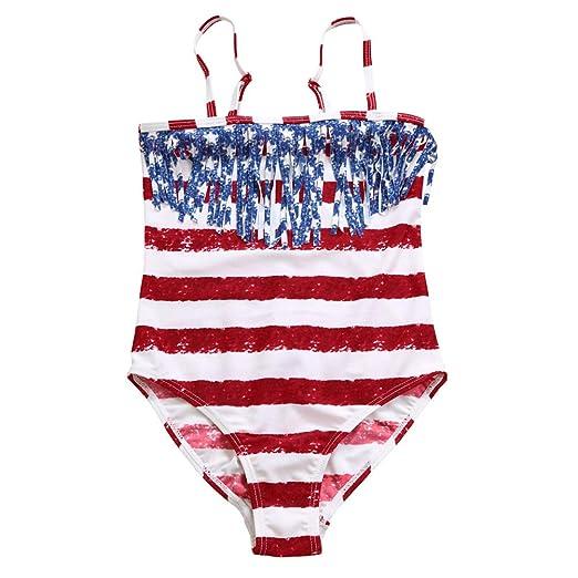 FENICAL Traje de baño con Bandera Americana de una Pieza con ...