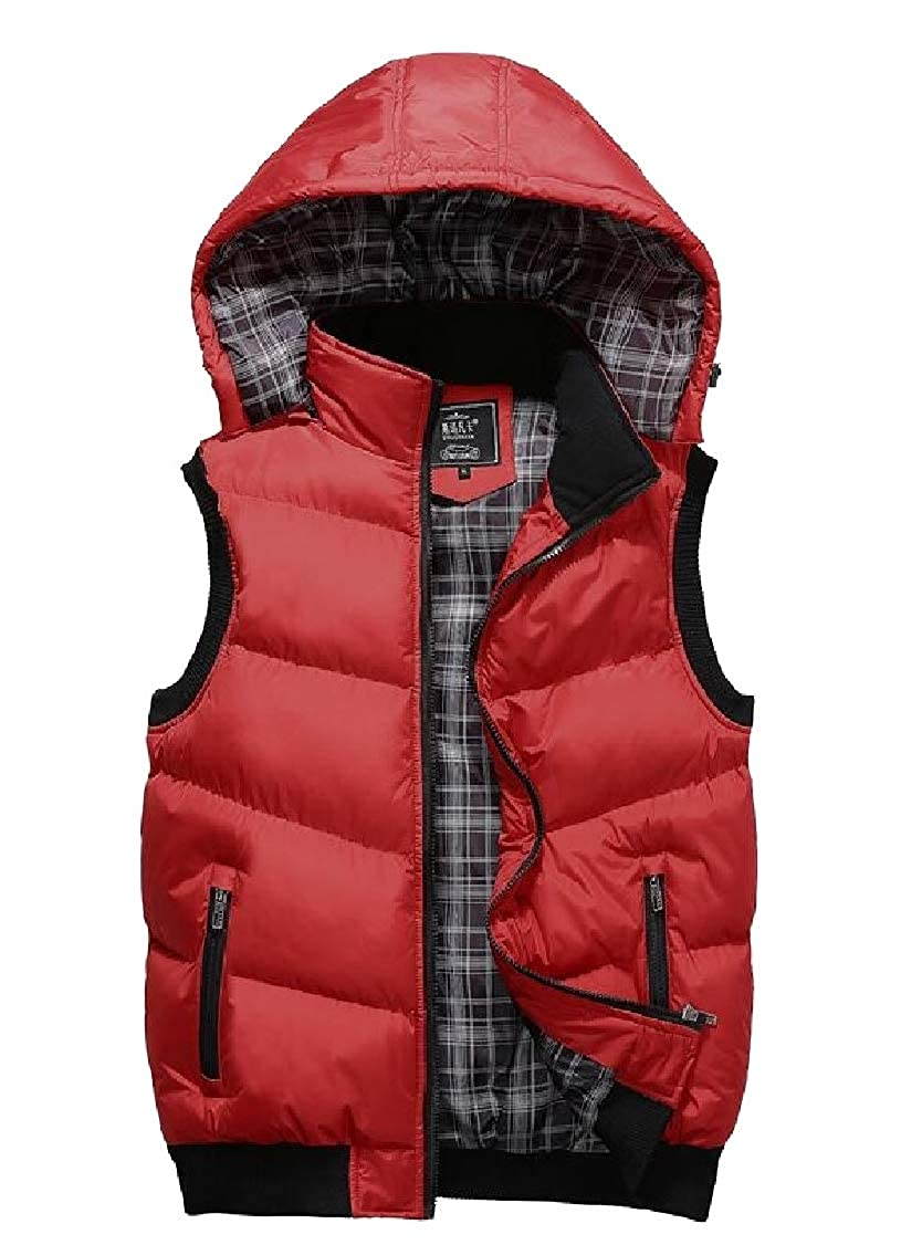 Gocgt Mens Puffer Vest Removable Hooded Quilted Warm Sleeveless Jackets
