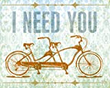 Wheatpaste Art Collective I Need You Tandem Bike by Fancy That Design House and Co. Canvas Wall Art, 30 by 24-Inch