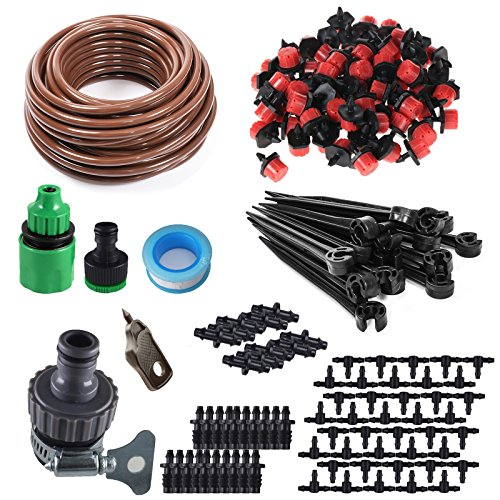 KORAM 100ft 1/4'' Blank Distribution Tubing Irrigation Gardener's Greenhouse Plant Cooling Suite Watering Drip Repair and Expansion Kit Accessories include Universal Spigot Connector IR-2F by KORAM