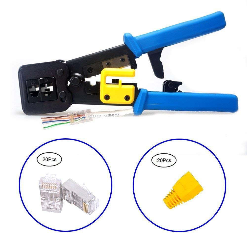 RJ45 Professional Heavy Duty Crimper Tool & 20Pcs RJ45 Connectors & 20Pcs RJ45 boots covers (Blue Handle)