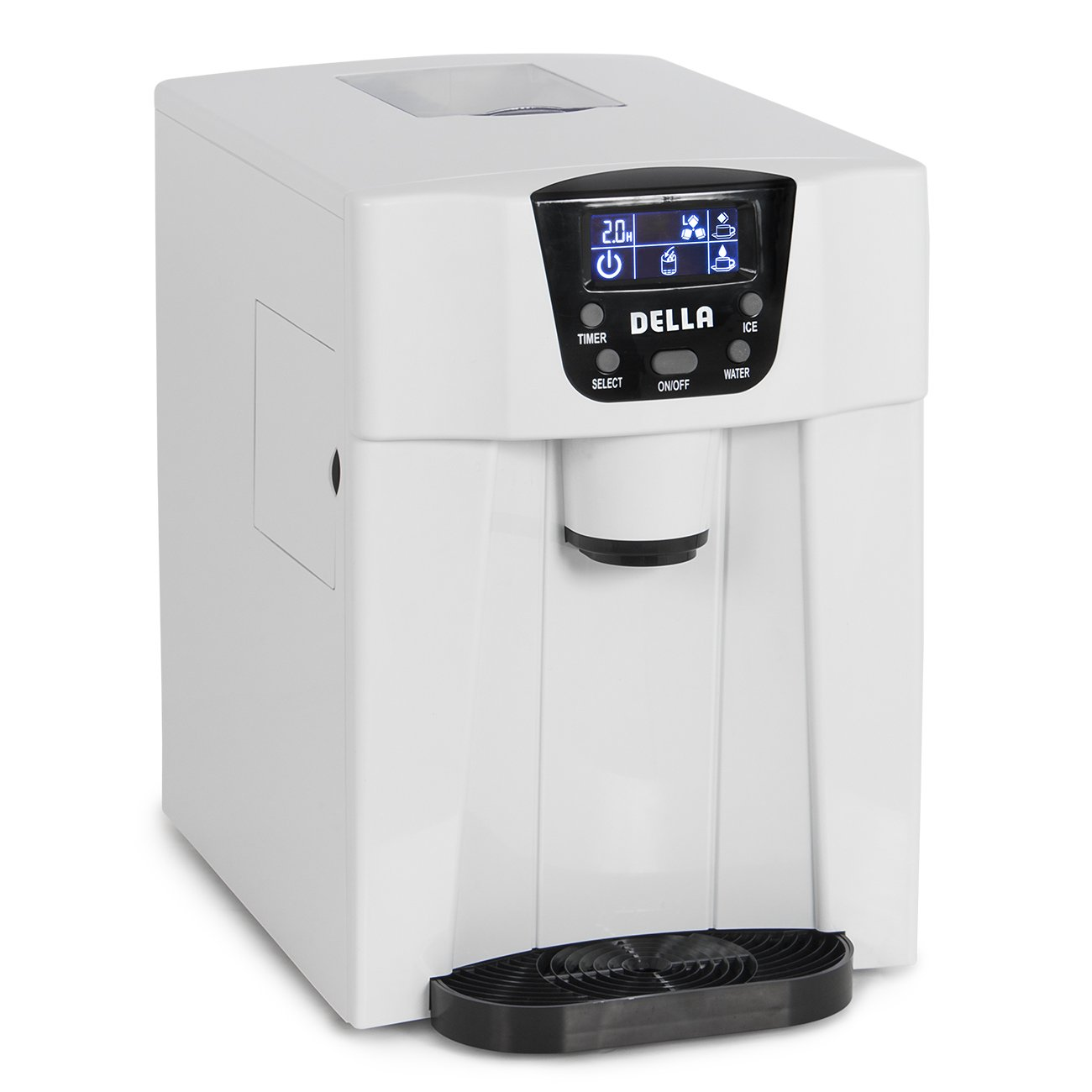 Della Freestanding Water Dispenser with Built-In Ice Maker Machine 26lbs per day, 2-Size Cube, White RGE Motor Direct Inc. 048-GM-48294