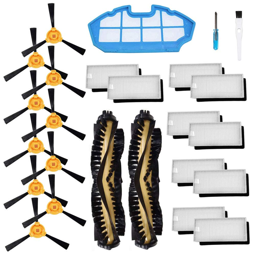 Theresa Hay Accessories Kit for Ecovacs Deebot N79S N79 Robotic Vacuum Cleaner Filters, Side Brushes,Main Brush ... (2+1+10+10)