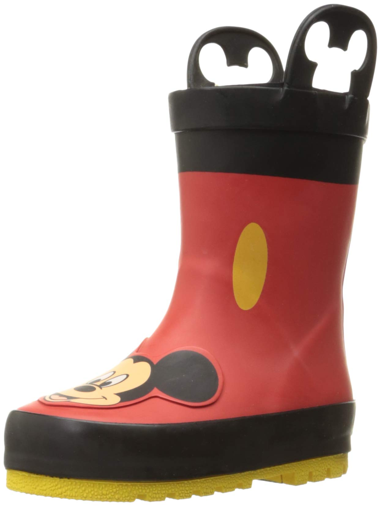 Western Chief Kids Waterproof Disney Character Rain Boots with Easy on Handles, Mickey Mouse, 13 M US Little Kid