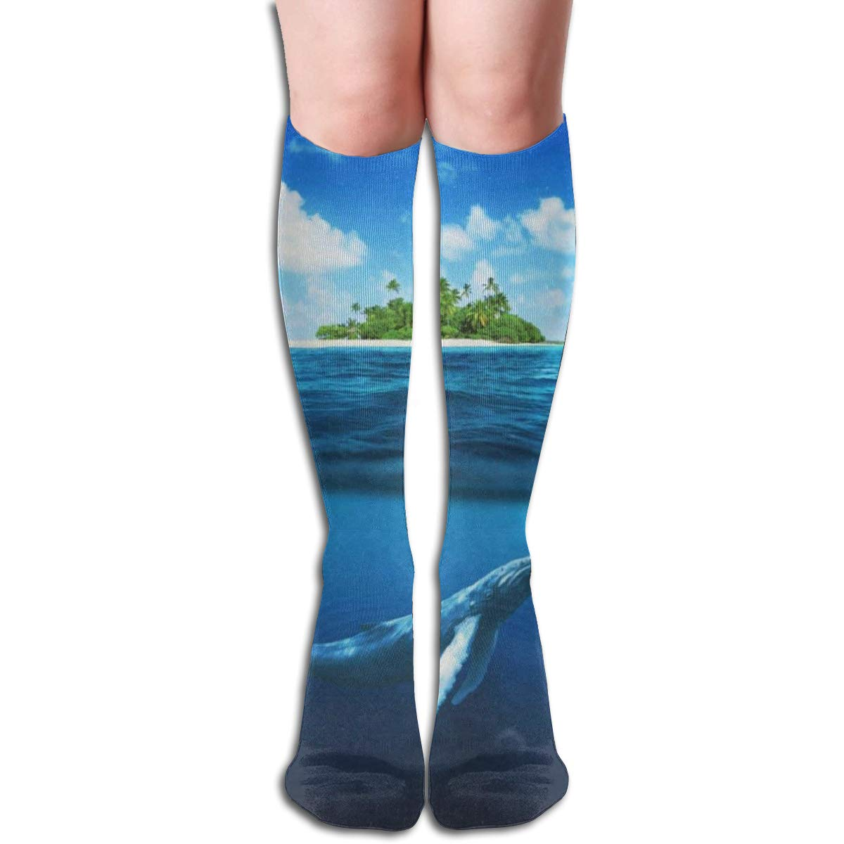Stretch Stocking Whale Shark Near Island Soccer Socks Over The Calf Amazing For Running,Athletic,Travel