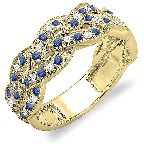 Dazzlingrock Collection 14K Round White Diamond & Blue Sapphire Ladies Anniversary Wedding Band, Yellow Gold, Size 8.5