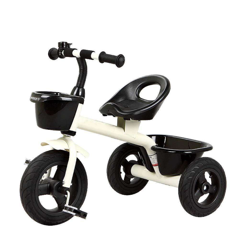 Lychez Bicicleta de Acero con Alto Contenido de Carbono del Carro de bebé del Triciclo para niños Triciclo de Pedales de 2 a 5 años (Color : Blanco)