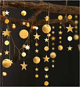 13 ft Sparkly Star Garland Streamer 4 Pack Banner Reflective Paper Hanging Glittery Backdrop Decoration Nursery Room Decor Birthday Party Favor Event Baby Shower Christmas Weddings Barbecue Fetes Gard