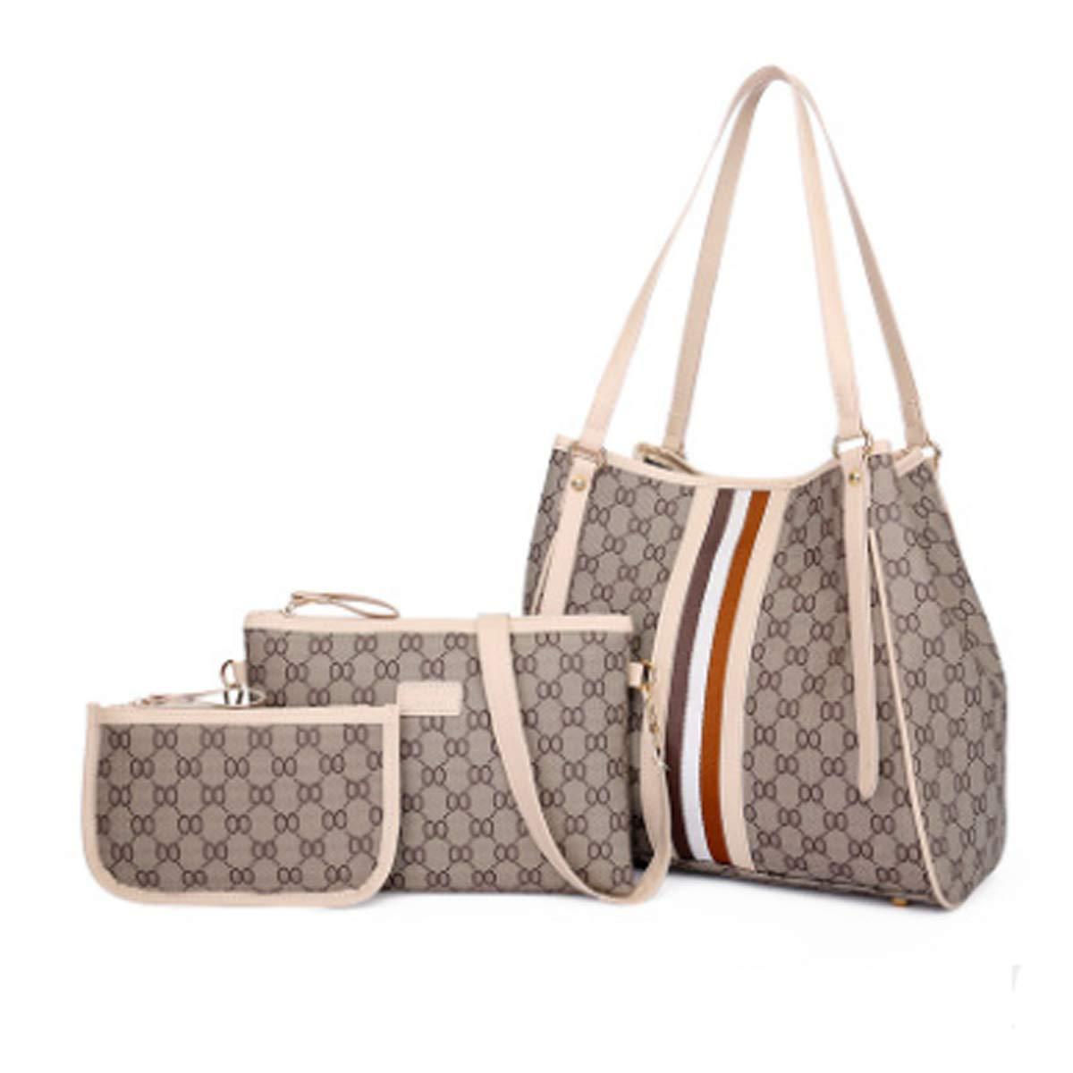 2018 neue europäische und amerikanische Mode große Kapazität Handtaschen atmosphärische Handtasche Mode Retro Damen Tasche Schultertasche (Beige) FXTKU