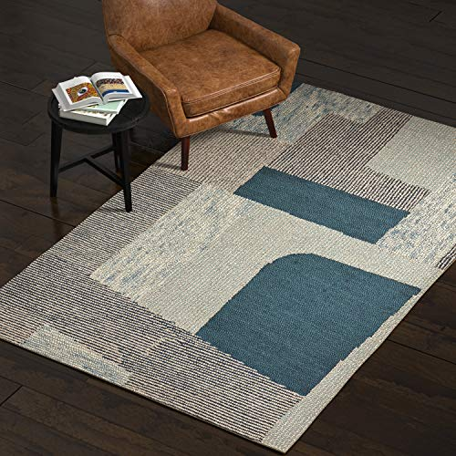 Rivet Modern Geometric Area Rug, 5 x 8 Foot, Blue Multicolor
