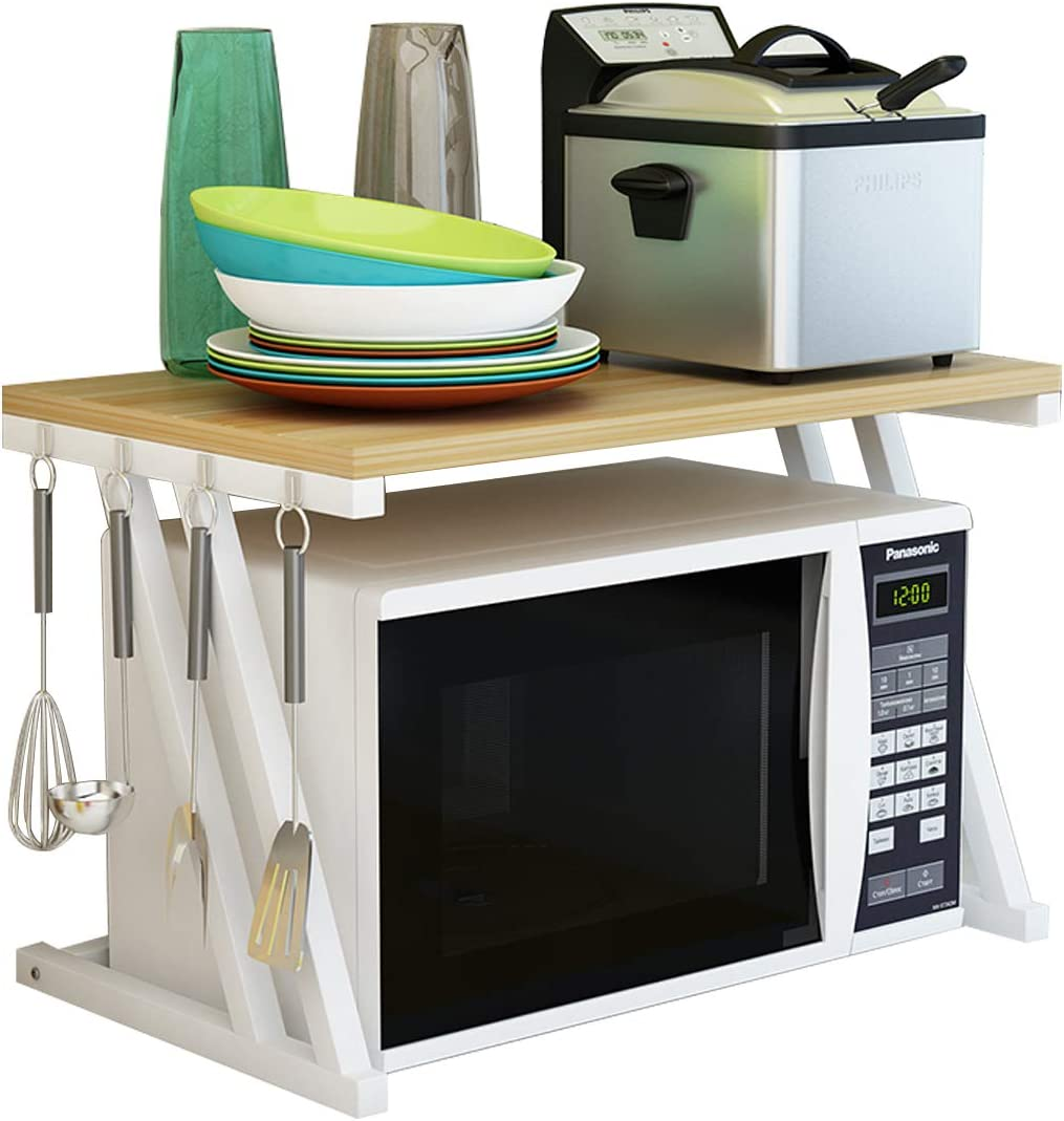 Haotrend Microwave Shelf, Microwave Stand Kitchen Counter Shelf Organizer, Spicy Shelf Rack Toaster Organizer, Microwave Oven Rack, 2 Tiers with Hooks (Light Beige Board + White Metal Frame)