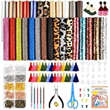 Caydo 28 Pieces 5 Styles Faux Leather Sheets, Leather Earring Making Kits with Instructions, Tassel Hoop, Cut Template, Earring Hooks, Jump Rings for Earrings Making Crafts (6.3 x 8.3 inch): more info