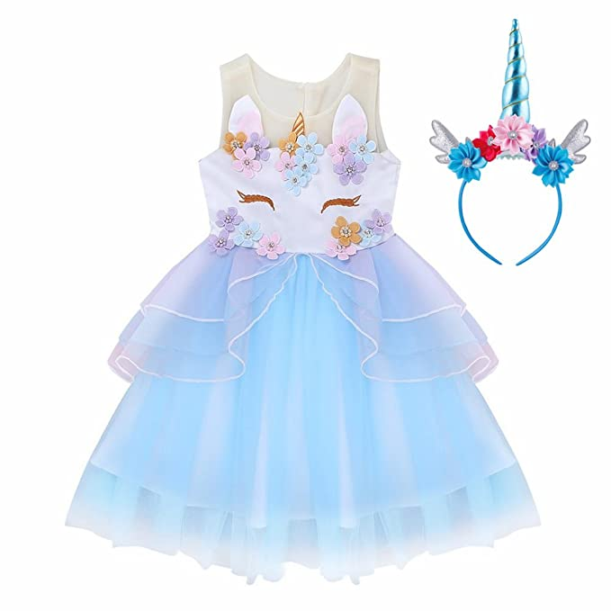 YaphetS Girls Toddler Unicorn Costume Cosplay Dress Party Outfit Fancy Dress Princess Tutu Dress (Blue