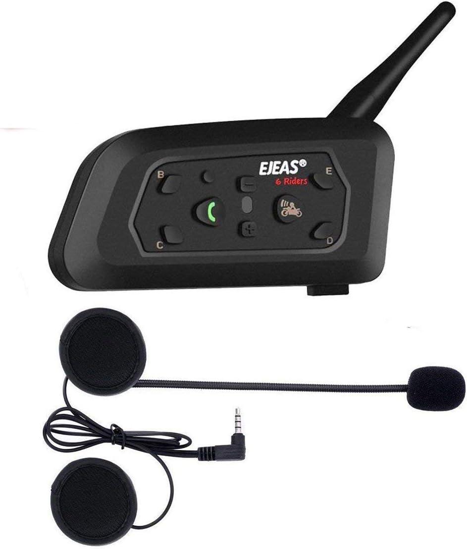 V6pro Intercomunicador Bluetooth Motocicletas,Intercomunicador de Casco,Casco Auriculares para Montar a Caballo/Esquí/Moto de Nieve/Scooter/MTB,6 Jinetes/12H Tiempo de Trabajo/Rango 1200m(1 pack)