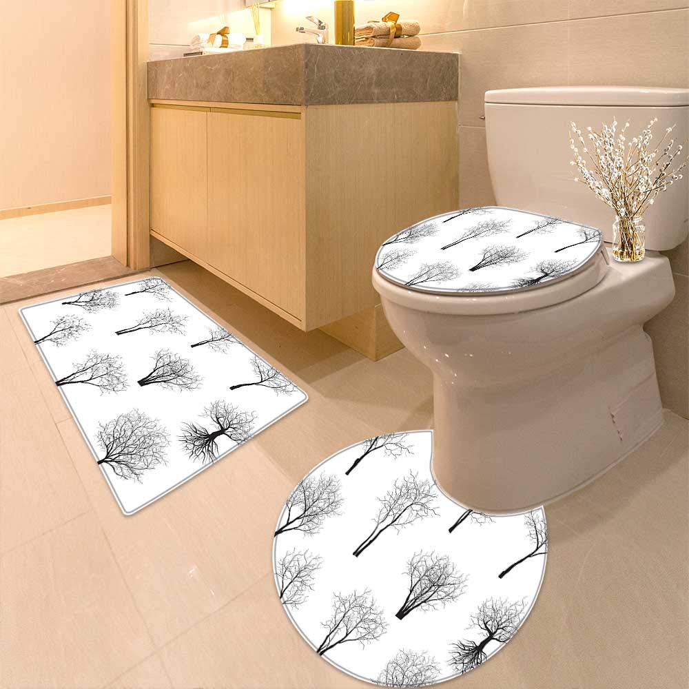 U-Shaped Toilet Mat Spooky Horror Movie Themed Branches Forest Trees Nature Art Print Black and White Washable Non-Slip