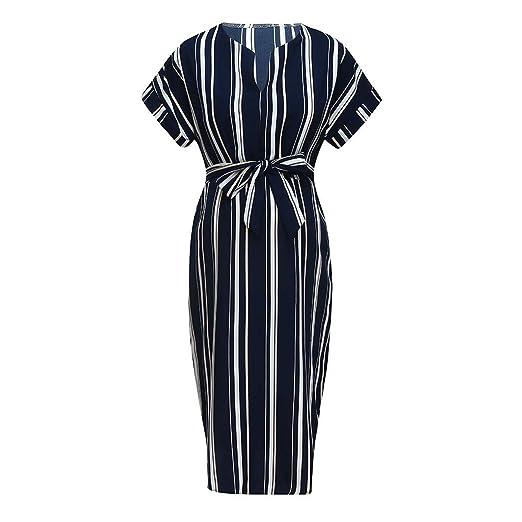 9fa5fe0174a56 Amazon.com: TANLANG Fashion Simple Women Stripe Short Sleeve Bodycon Open  Fork Sexy Pregnancy Maternity Dress: Clothing