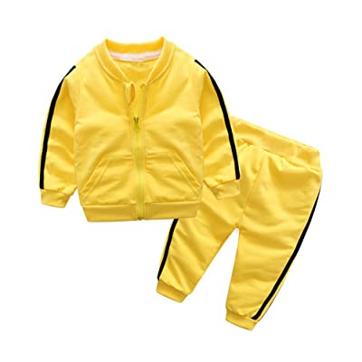 ANNA Judy Little Boys Girls Cotton Long Sleeve Zip Sweatshirt and Pant Tracksuit Sets(Yellow,100/18-24Months)