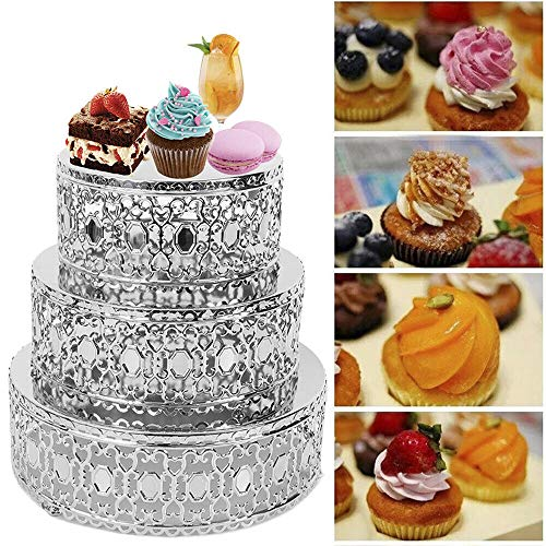 3Pcs Cake Stands, Mirror Cake Stand Round Cupcake Dessert Stand Riser Wedding Birthday Party Display Pedestal - Silver (US Shipping) ()