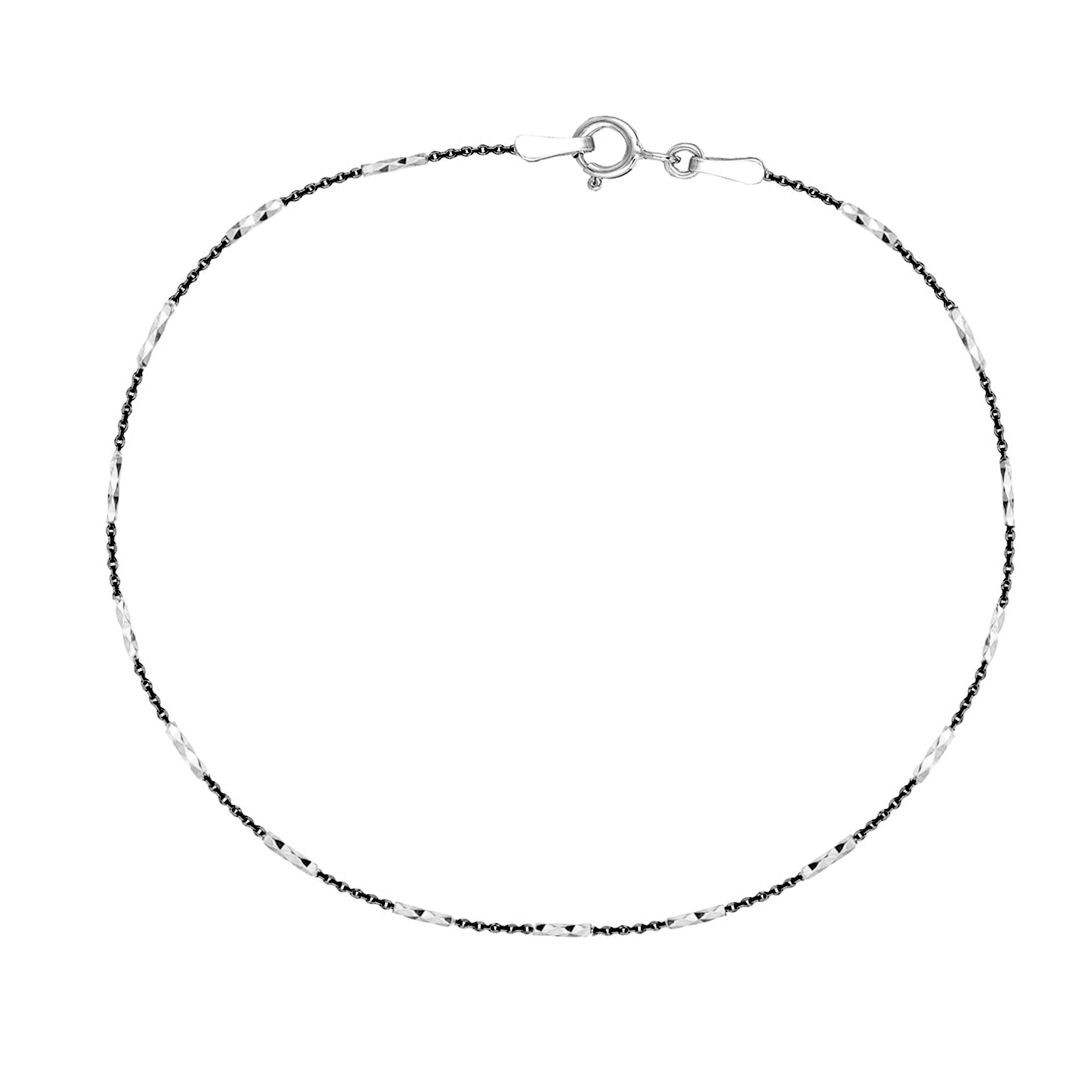 Sterling Silver Two-tone Black White Mini Diamond-cut Bar Cable Foot Chain Anklet