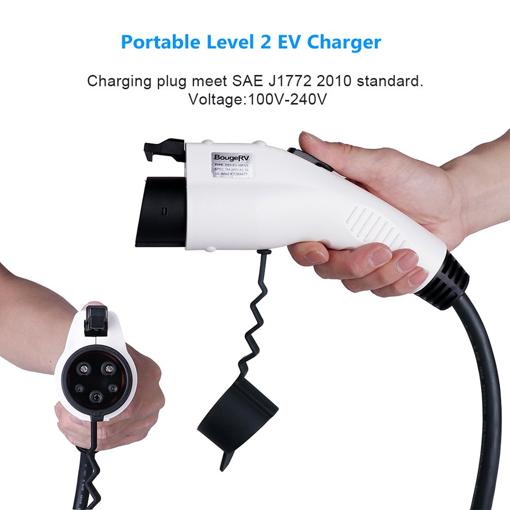 BougeRV Level 2 EV Charger Cable (240V, 16A, 25FT) Portable EVSE Electric Vehicle Charging Station Compatible with Level 1 for Chevy Volt, BMW, Nissan Leaf, Fiat, Ford Fusion by BougeRV (Image #2)