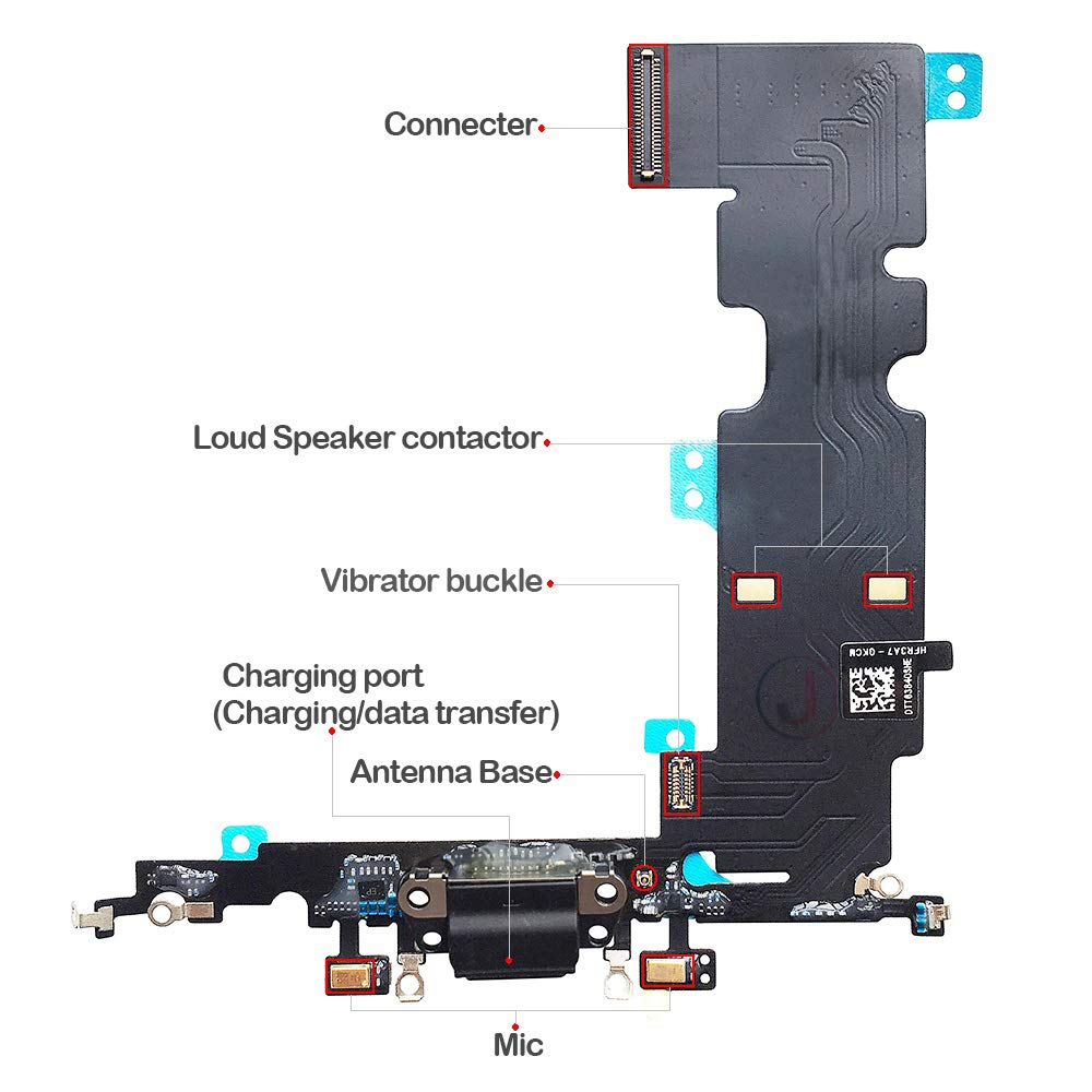 johncase usb charging port dock connector flex cable + microphone +  cellular antenna connector replacement part compatible with iphone 8 plus  5 5