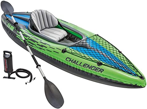 Intex Challenger K1 Kayak 1 Person Inflatable Kayak Set With Aluminum Oars And High Output Air Pump