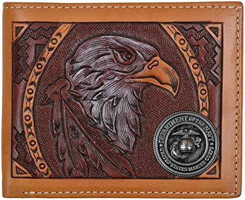 Custom American Spirit U S Marines hand-tooled Bi-Fold leather wallet