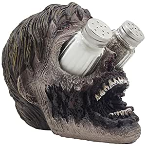 Evil Undead Zombie Head Glass Salt and Pepper Shaker Set with Display Stand Holder Figurine for Scary Halloween Decorations or Spooky Kitchen Decor Table Centerpieces As Decorative Gothic Gifts