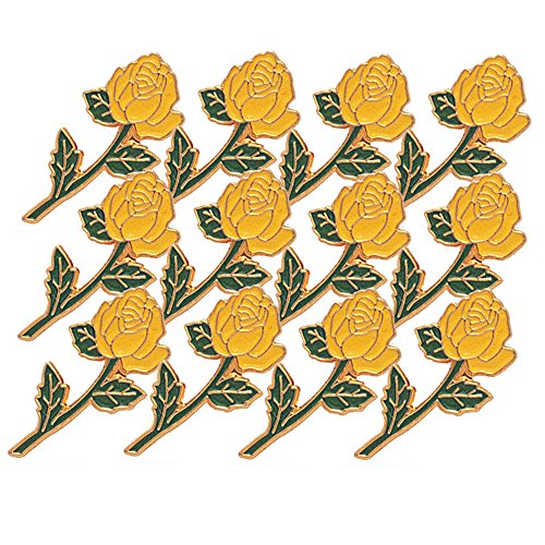 7/8 Inch Long Stem Yellow Rose Lapel Pin - Package of 12, Poly (Enameled Leaf Pin)
