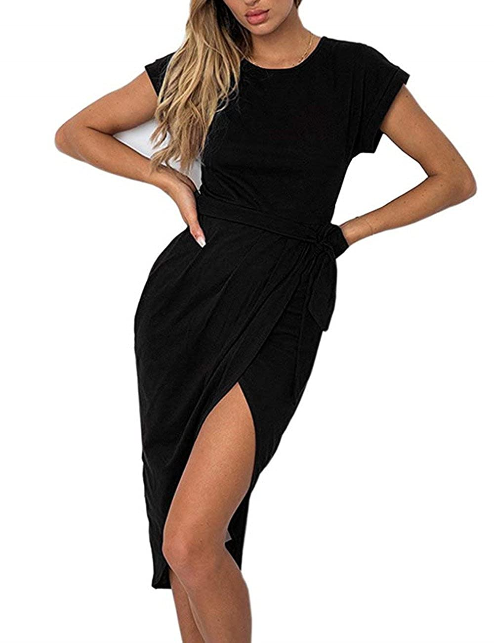01 black pinklux Women's Casual Short Sleeve Front Slit Summer MidCalf Dress Sexy Solid Party Dress with Belt