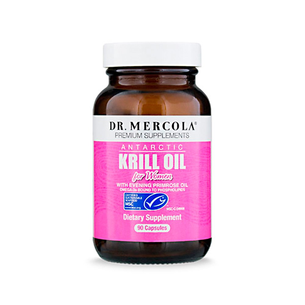 Dr. Mercola Antarctic Krill Oil for Women - 90 Capsules - With Evening Primrose Oil - 1000MG Omega 3 Supplement With EPA DHA GLA & Astaxathin - Odorless & Mercury Free…
