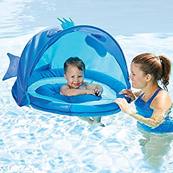 Swimschool Fun Fish Fabric Baby Boat  Canopy UPF 50 Extra-Wide Inflatable Pool Float 6 to 18 months Blue  sc 1 st  Amazon.com & Amazon.com: Inflatable Baby Pool Float Swimming Ring with Sun ...