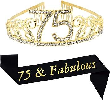 Amazon.com: Tiara de oro de 75 cumpleaños y cinta de satén ...