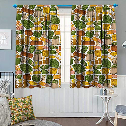 Money Window Curtain Fabric Colorful Symbols of Richness Wallet Credit Card Icons of Money Dollar Pound Signs Drapes for Living Room 55