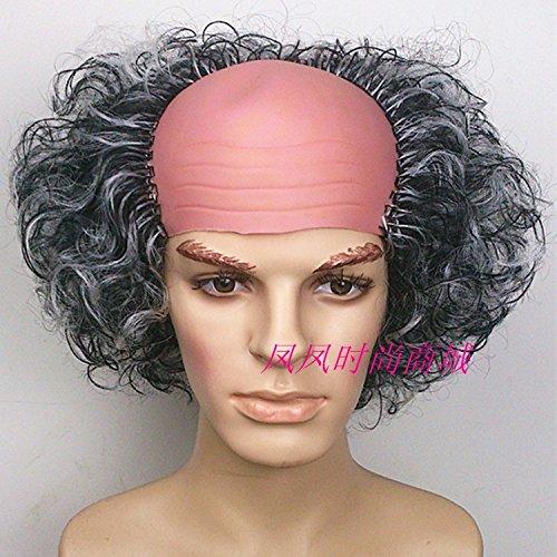 (Halloween wig explosion wig Funny half bald head, Dr. Strange new stage makeup)