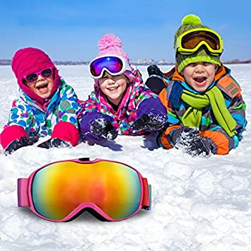 be309b324f BAITENG Kid Ski Goggles - Anti Fog Snow Goggoles for  Amazon.co.uk   Electronics