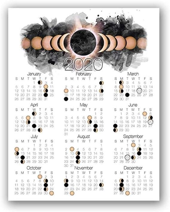 Calendrier Solaire 2021 2020 Calendrier De Phase De Lune Affiche Toile Art Print