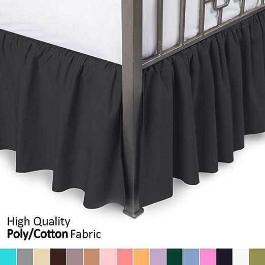Amazon.com: Ruffled Bed Skirt with Split Corners   King, Black, 21