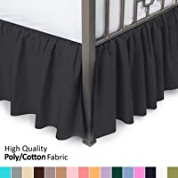 Ruffled Bed Skirt with Split Corners - Full, Black, 21 Inch Drop Bedskirt (Available...