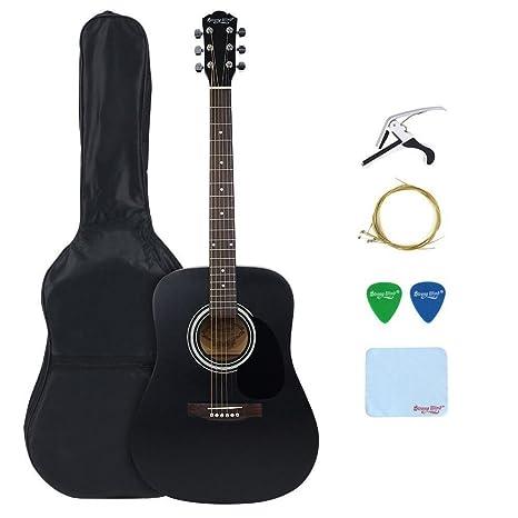 Strong Wind guitarra acústica negra 41 pulgadas tamaño completo cuerdas de metal kit de funda,