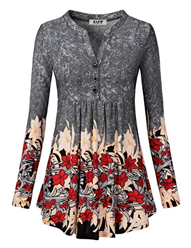 DJT Floral Blouses for Women, Womens Floral Printed Notch Neck Button Up Casual Tunic Shirts Medium Black Floral